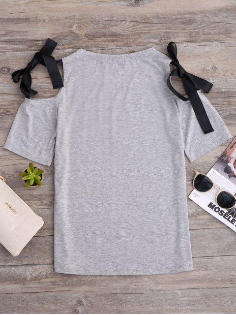 fancy Ribbon Bowknot Cold Shoulder Tee - GRAY L Mobile