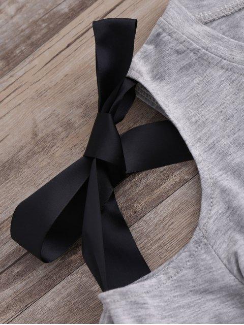 Tee aux épaules dénudées décoré nud de Papillon de ruban - Gris S Mobile