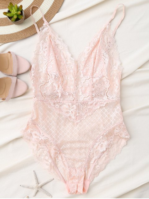 fancy Fishnet Lace High Leg Teddy - LIGHT PINK M Mobile