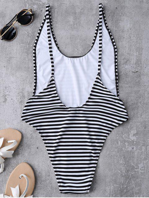 lady Striped High Cut Swimwear - STRIPE L Mobile