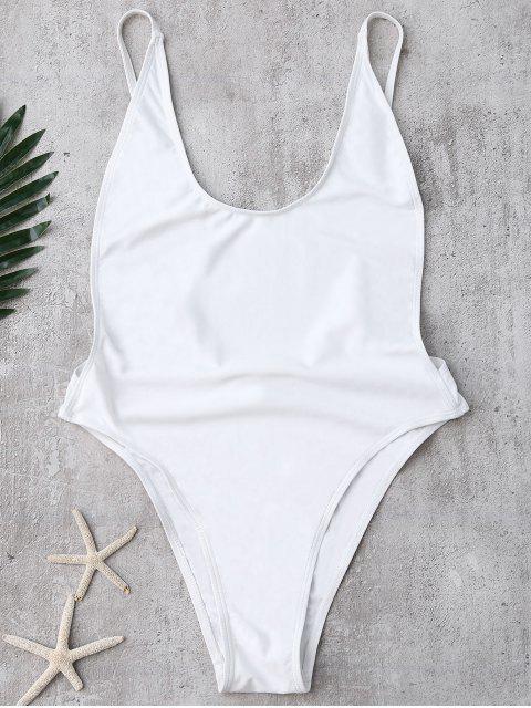Sin respaldo Corte Alto traje de baño - Blanco S Mobile
