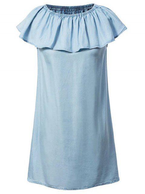 fashion Chambray Off The Shoulder Dress - LIGHT BLUE L Mobile