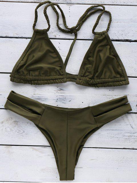 ladies Halterneck Green Bikini Set - GREEN M Mobile