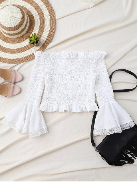 fashion Off Shoulder Smocked Flare Sleeve Crop Top - WHITE S Mobile