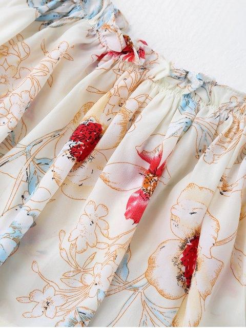 combinaison à encolure-bateau à motif floral - Blanc S Mobile