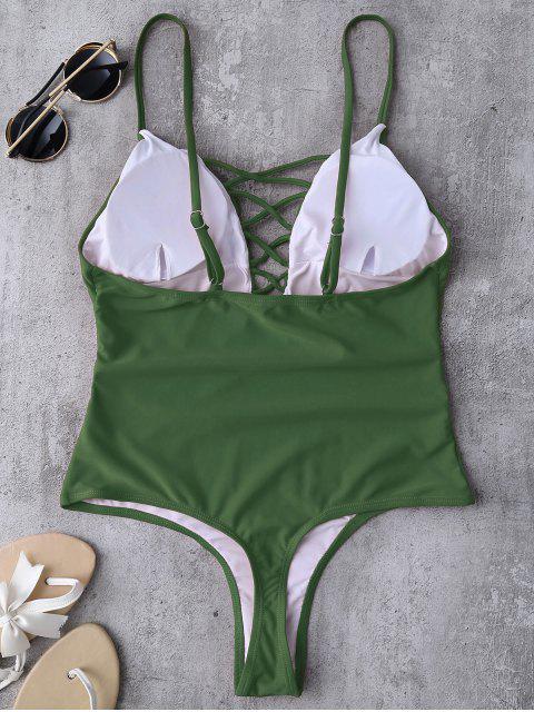 sale Plunging Neck Strappy Swimwear - GREEN M Mobile