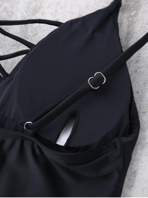 Maillots de bain à une pièce col plongeant à bretelles - Noir M Mobile