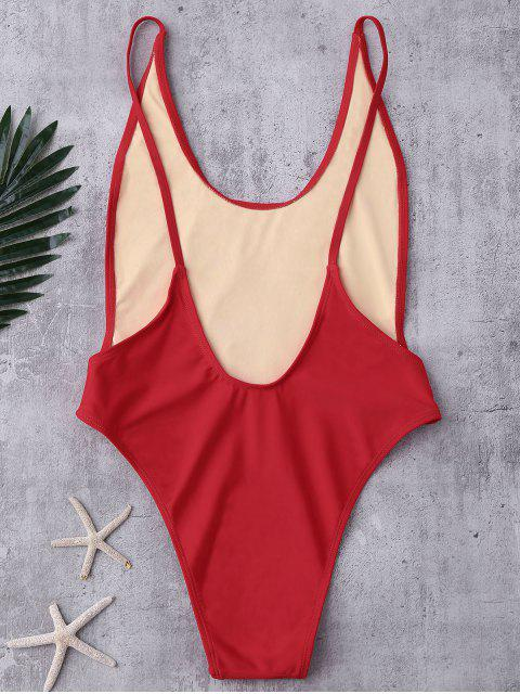 latest Backless High Cut Swimsuit - RED S Mobile