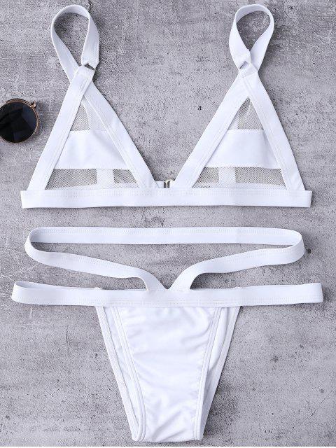 new Mesh Panel Bandage Bikini - WHITE L Mobile