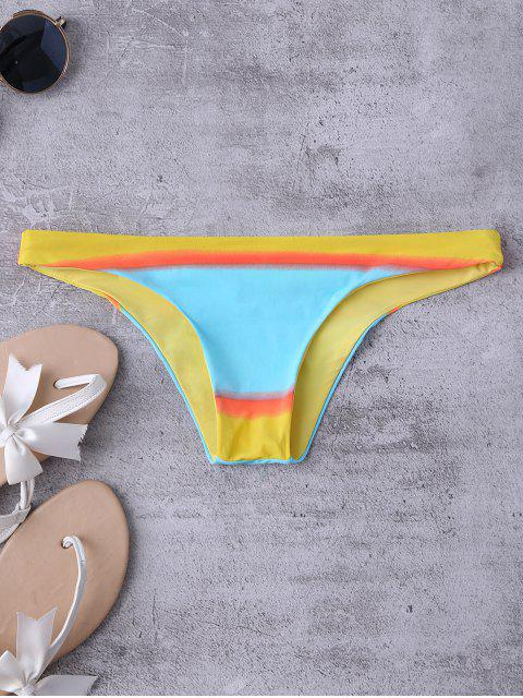 affordable Color Block Thong Bikini Bottoms - COLORMIX M Mobile