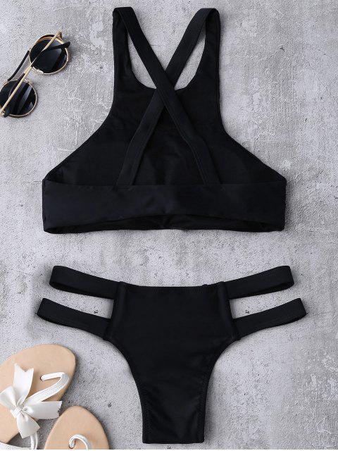 fancy Bandage Tribal Print Bikini Set - BLACK S Mobile