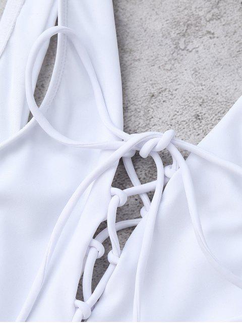 Low Cut High Cut Lace Up Maillots de bain - Blanc L Mobile