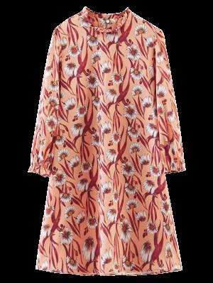 Long Sleeve Sunflower A-Line Dress - Orangepink S