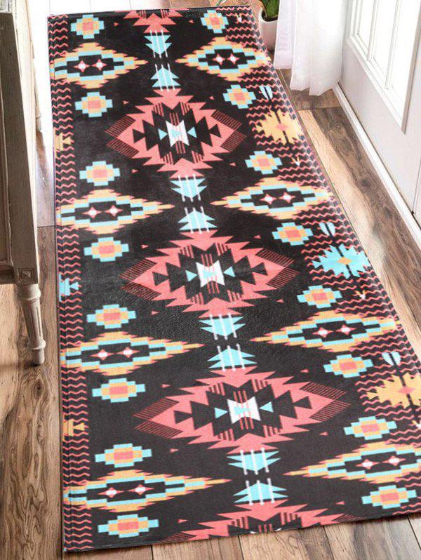Indian Style Extra Large Geometric Antislip Flannel Bath Mat 210253701