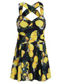 الليمون طباعة عالية الخصر بالاضافة الى حجم سويمدرس - الأصفر 5xl