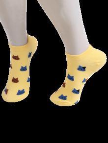 الكرتون القط رئيس منمق الكاحل الجوارب الكاحل - الأصفر