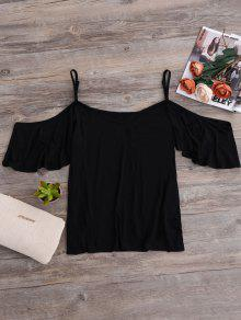 Camisole Cold Shoulder Tee - Black S