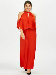 Plus Size Cold Shoulder Keyhole Overlay Maxi Dress