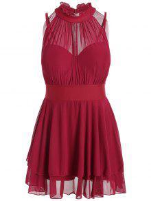 شبكة إدراج زائد الحجم الرقبة العالية ثوب السباحة - أحمر 3xl