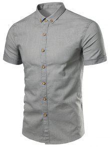 شريط مزين القطن الكتان قصيرة الأكمام قميص - رمادي L
