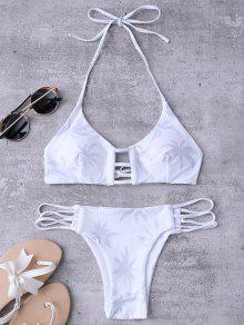 Ladder Cut Halter Coconut Print Bathing Suit - White S