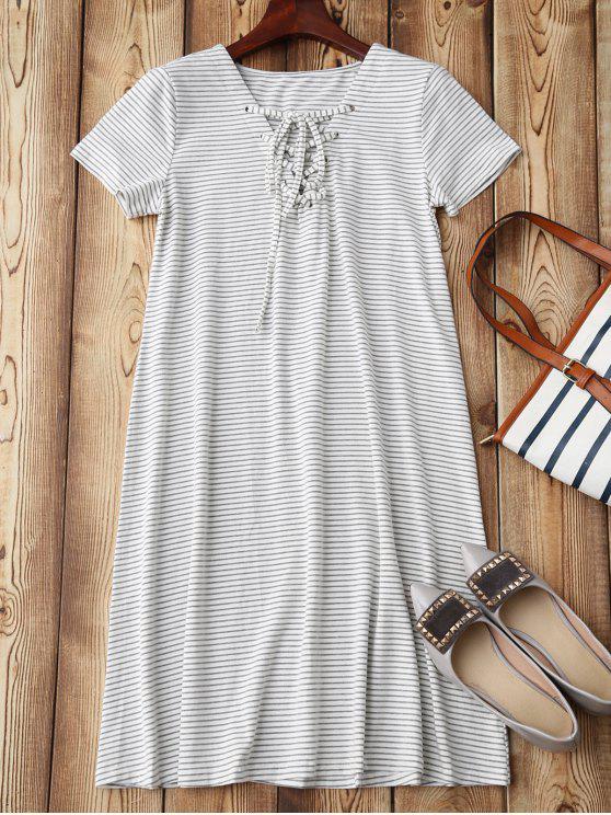 lady Lace Up Striped Loungewear - STRIPE S