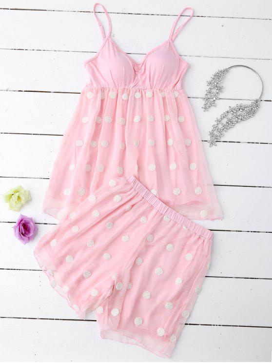 Cami Applique Layered Padded Nachtwäsche Anzug - Papaya M