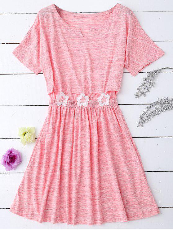 فستان النوم ملون قطع زهري ذو قطعة خصر - زهري XL