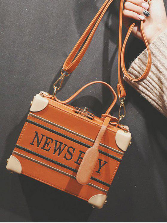 News Boy Embroidered Box Handbag - Light Brown