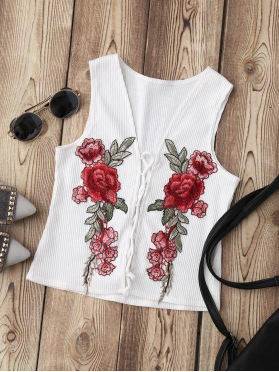 shops Lace Up Floral Applique Ribbed Top - WHITE S