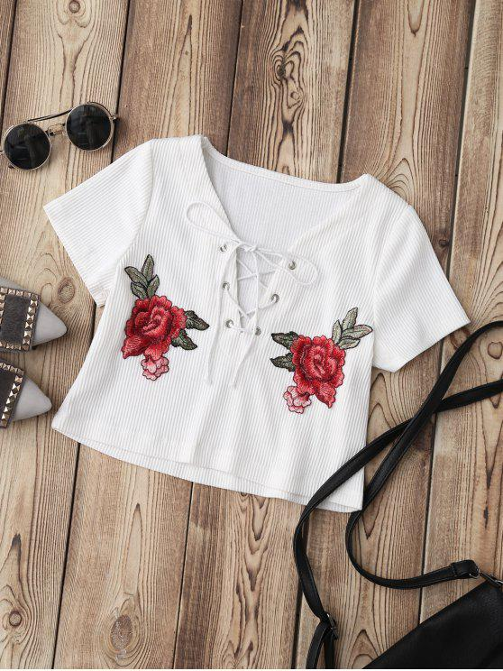 outfit Lace Up Applique Ribbed Crop Top - WHITE S