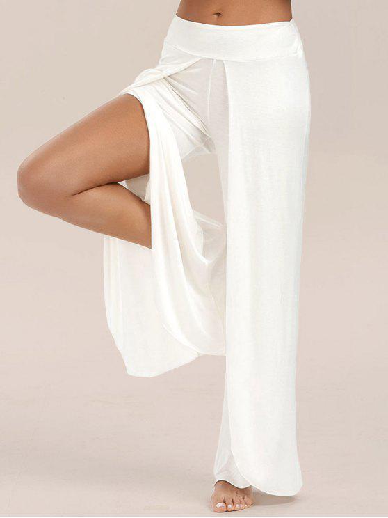 Hose mit  hochem Schlitz und weitem Bein - Weiß M