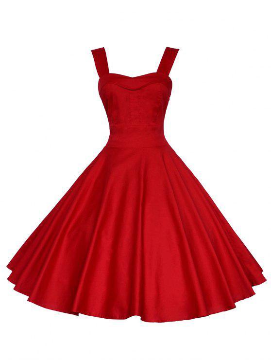 خمر فستان عارية الذراعين البسيطة - أحمر 2XL