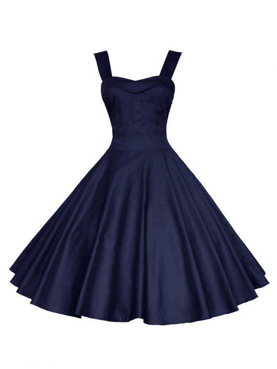 فستان متزلج سوينغ كلاسيكي - ازرق غامق XL