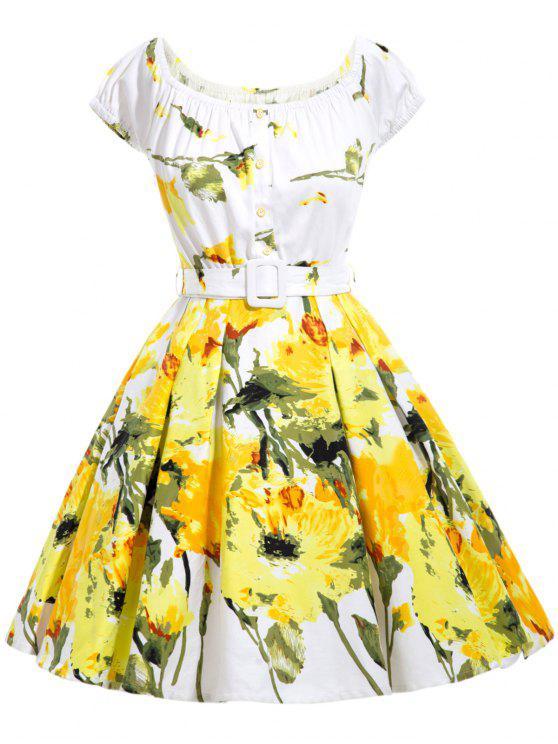 blumendruck ausgestelltes kleid mit g rtel gelb. Black Bedroom Furniture Sets. Home Design Ideas