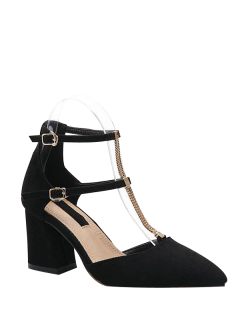 Block Heel T Bar Pointed Toe Pumps - Black 39