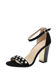 Block Heel Ankle Strap Faux Pearls Sandals - Black 40