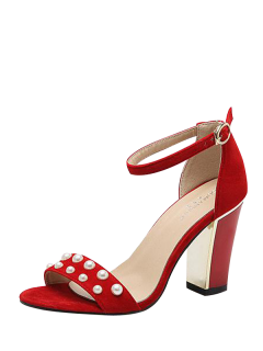 Block Heel Ankle Strap Faux Pearls Sandals - Red 38