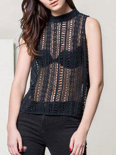 Keyhole Crochet Tank Top - Noir Xs