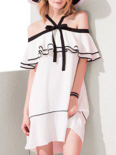 Ruffles Cold Shoulder Mini Dress - White Xs