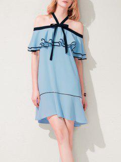 Mini Robe Hérisse D'épaule Froide - Bleu Xs