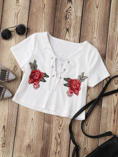 Lace Up Applique Ribbed Crop Top - White M