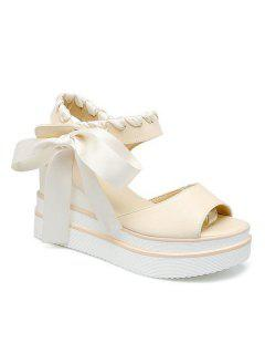 Ribbons Platform Sandals - Off-white 39