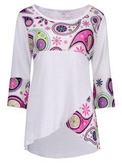 Plus Size Paisley Front Slit Asymmetric T-Shirt - White 5xl