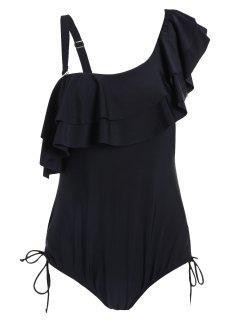 Ruffle Plus Size One Piece Swimwear - Black Xl
