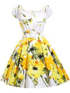 Impresión Floral De La Llamarada Vestido Con Cinturón - Amarillo M