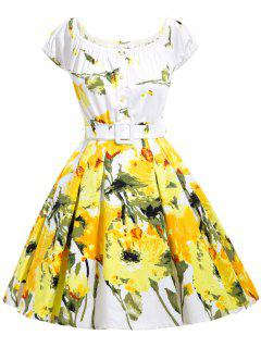 Floral Print Flare Off The Shoulder Dress - Yellow L