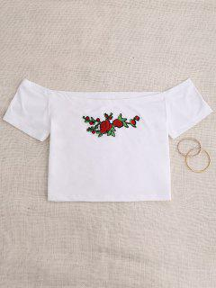 Off Shoulder Applique Top - White S