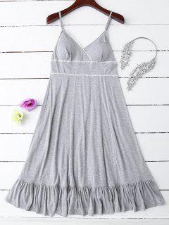 Slip Lace Ruffle Hem Babydoll - Gray M
