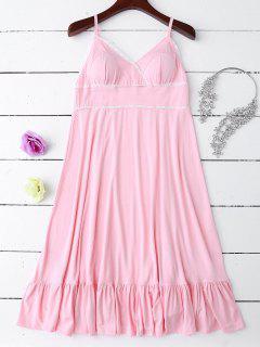Slip Lace Ruffle Hem Babydoll - Light Pink M